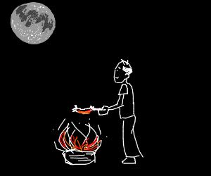A midnight weenie roast