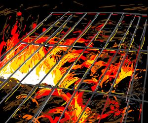 A smoldering grill