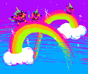 Pink Fluffy Unicorns Dancing on Ranibows!