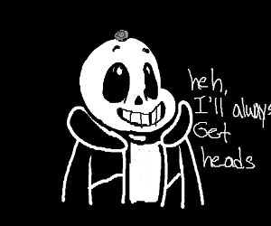 Sans in black with a coin on his head.