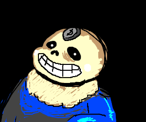 Someone stuck a penny to Sans' face. Puns.