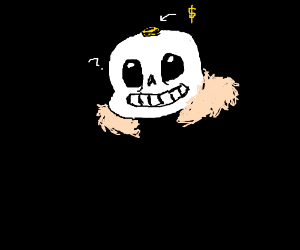 Sans with a coin on his head