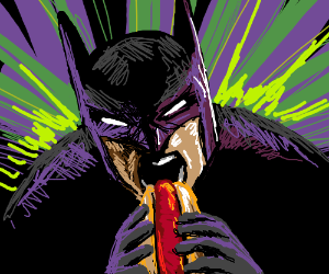 Batman slowly inserting a hot dog in his mouth