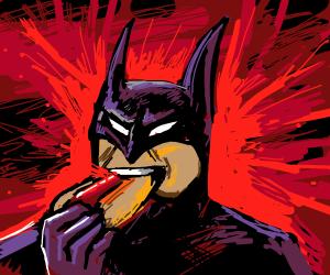 Batman violently consumes a hotdog