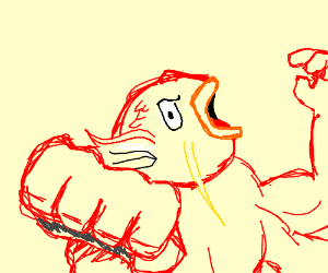 Magikarp-Machoke fusion uses fist
