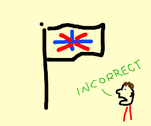 A flag with a red and blue cross, like the UK