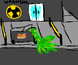 Open hot dog stand (It has toxic waste on it)