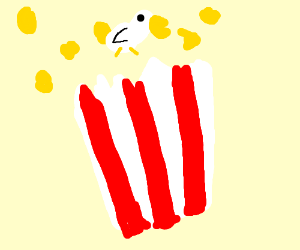 A duckling trapped in a bag of popcorn