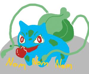 Bulbasaur eats a cherry