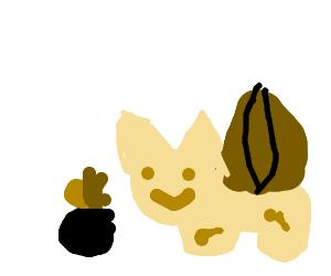 Bulbasaur eating an apple while saying Nom