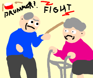 Granny and old man drummer fight