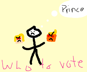 Guy @ voting poll thinks about voting 4 Prince