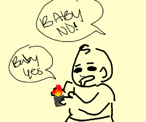 Baby touches the lighter when told not to :O