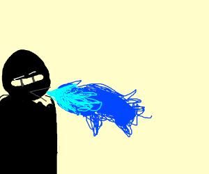 ninja breaths blue fire