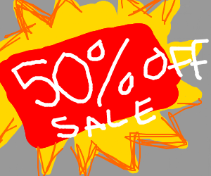 50 percent off sale