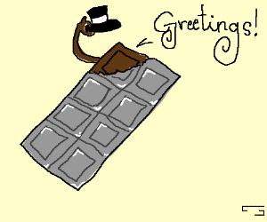 Greetings from a recently unwrapped chocolate!