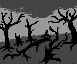 Ashy, burnt tree trunks in a gray wasteland.