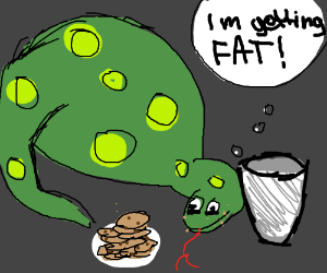 Snake ate too many cookies. He's gonna get fat