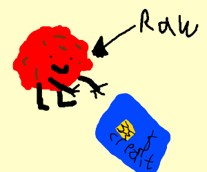 Raw meatball receives credit card