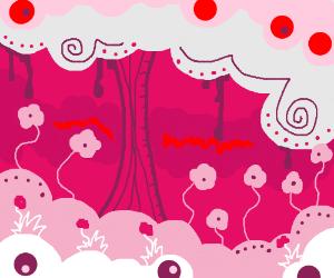A mysterious pink flower field