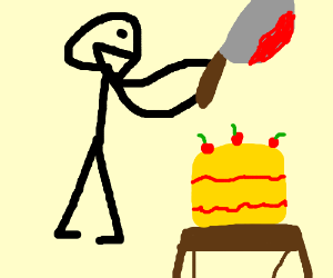 Creepy guy about to cut cake