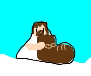 Jesus with a massive boot