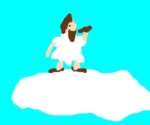 melting Jesus eats brown shoe