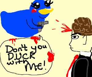 blue rubber duck shooting a man