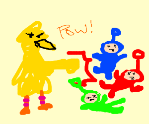 Big Bird punches out Teletubbies!