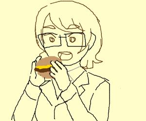 Eats a burger