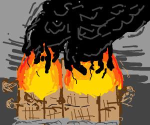 Burning, collapsing buildings.