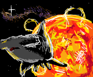 Hammerhead Shark escapes fire planet to Space