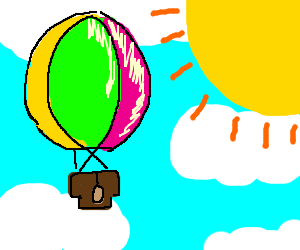A Hot-air balloon flies on a sunny day
