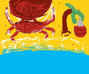Sun and crab celebrate Christmas on the beach