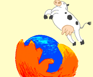 The cow jumps over the firefox