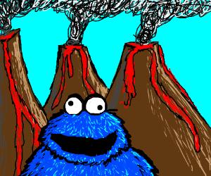 Blue Monster standing in front of volcanoes