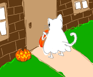 Cute cat ghost trick or treating