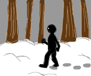Literal Black Guy walking through the snow.
