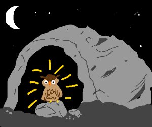 Dark cave with a bright owl in it