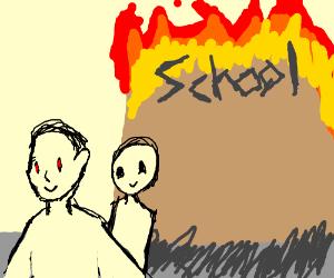 2 guys burned down a school