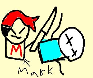 Markiplier killing itsalexclark with a katana