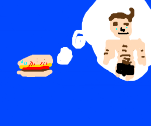 A burger thinking about a naked man