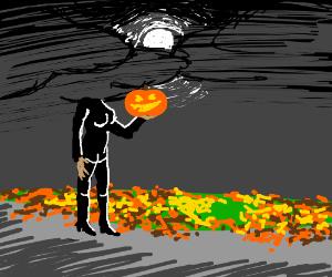Headless Woman holdin Jack-o-lantern