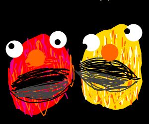 Yellmo and Elmo screaming at nothing