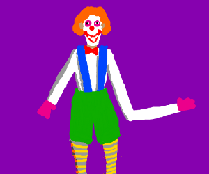 Clown with one arm much longer than the other.