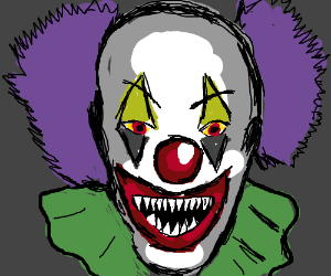 a clown with purple hair