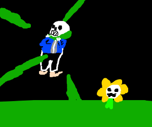 Flowey strangles Sans with his roots