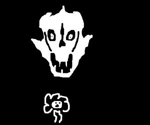 Skeleton laser-beams a flower