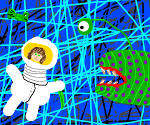 astronaut underwater with a green dagger