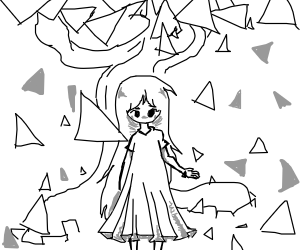 anime girl in twisty triangle forest